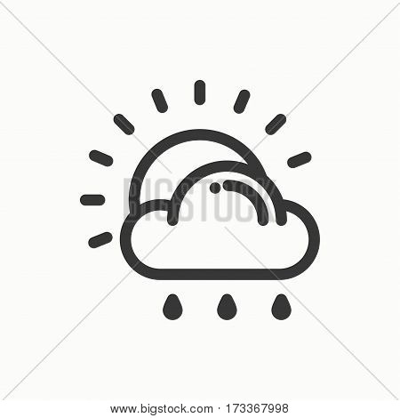 Sun, cloud, rain line simple icon. Weather symbols. Meteorology. Forecast design element. Template for mobile app, web and widgets. Vector linear icon. Isolated illustration. Flat sign. Logo