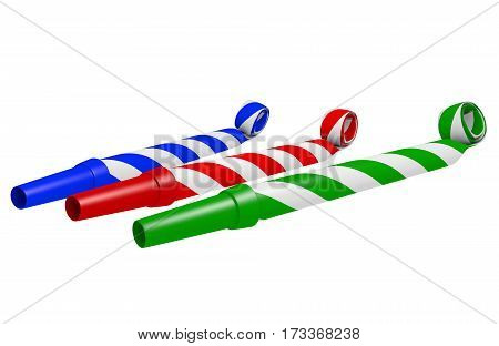 Striped blue, red, and green party blower whistles for making loud noise, 3D rendering