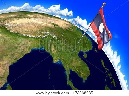 Laos national flag marking the country location on world map. 3D rendering, parts of this image furnished by NASA