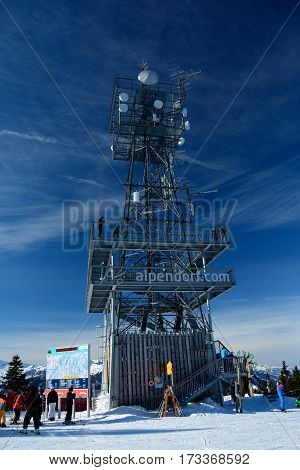 Wagrain Austria - January 30 2017: Viewing tower on top of mountain nearby Wagrain and Alpendorf in Alps in Austria. Unidentified people visible.