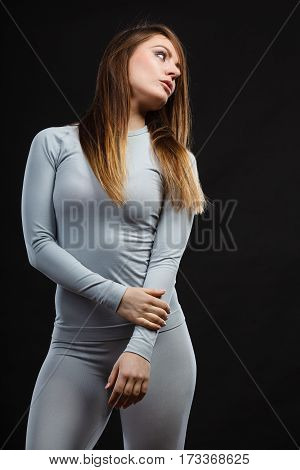 Fit Woman In Thermolinen Underwear,