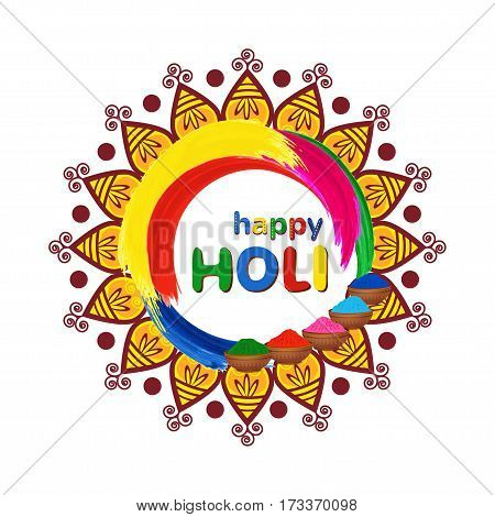 Happy Holi vector greeting card with mandala, traditional colorful gulal powder and color splashes