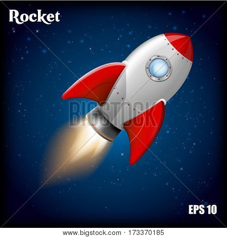 Rocket ship.Vector illustration with 3d flying rocket. Space travel to the moon. Space rocket launch. Project start up and development process.