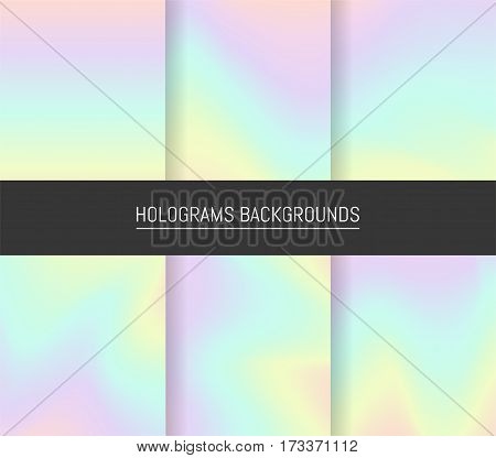 Set Of 6 Realistic Holographic Backgrounds In Different Colors For Design. Hologram To Create Trendy