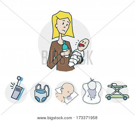 Baby Care icon. Icon on medical subjects. Illustration of a funny cartoon style