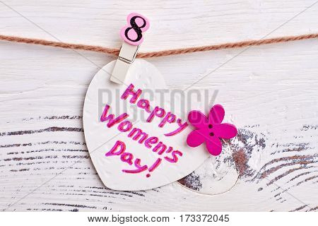 Heart shaped greeting card. International Women's holiday.