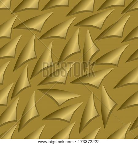 Golden seamless background with elements like rolled paper corner 3d illusion with shadow luxury design vector eps10