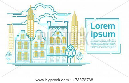 Beer Brewing Festival Banner Factory Building Vector Illustration