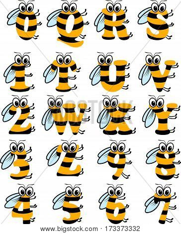 Latin striped alphabet, funny bee abc from R to Z, and numbers, isolated on white