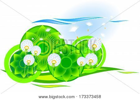 Dandelion in a meadow with stylized elements. Vector illustration