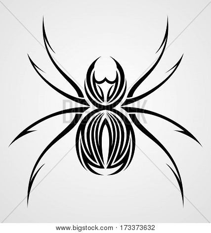 Vector illustration of black spider tribal tattoo design