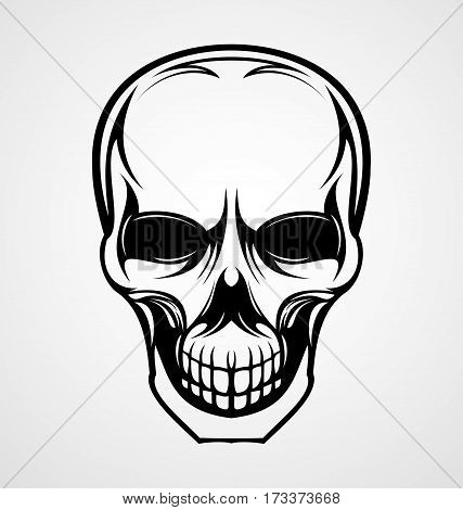 Skull head black tattoo design vector illustration