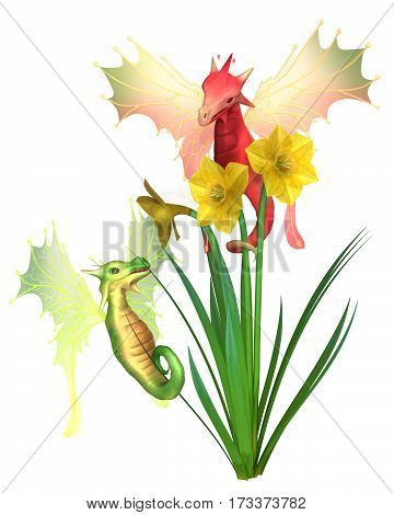 Fantasy illustration of cute red and green Welsh dragons and yellow daffodils for St David's Day, patron saint of Wales, on 1st March, digital illustration (3d rendering)