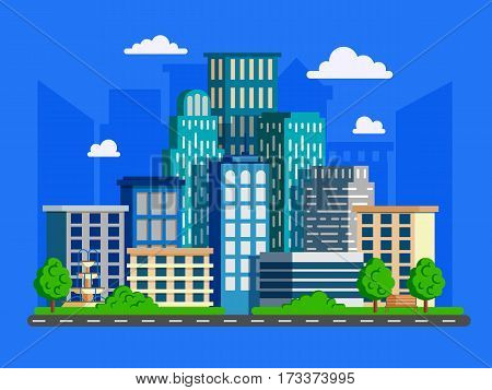 Vector illustration with skyscrapers in flat design. Big green modern city with road and high buildings.Can used for web banner info graphic and brochure.