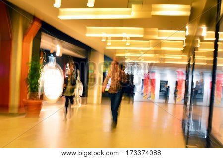 abstract blurred shot inside a shopping mall