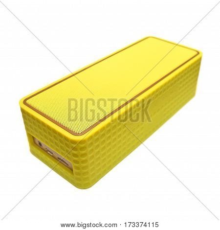 a portable wireless bluetooth speaker isolated on white background