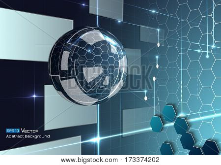 Abstract background with glass sphere, with blue and neon colors and glow and futuristic elements, hexagons, rectangles. Used a clipping mask.