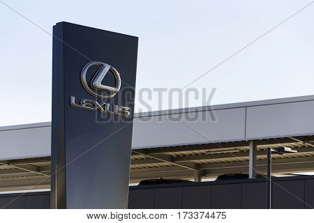 Prague, Czech Republic - February 25: Lexus Car Logo In Front Of Dealership Building On February 25,