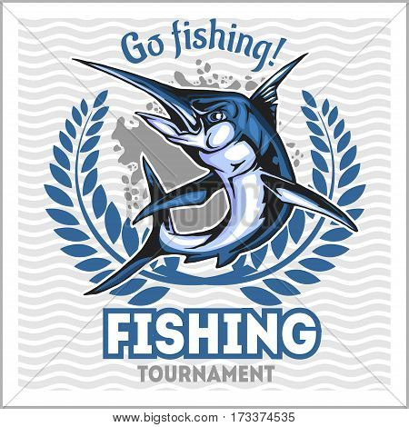 Fishing emblem with blue marlin, badge and design elements - vector illustration