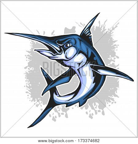 Realistic blue Marlin fish - vector illustration on white.
