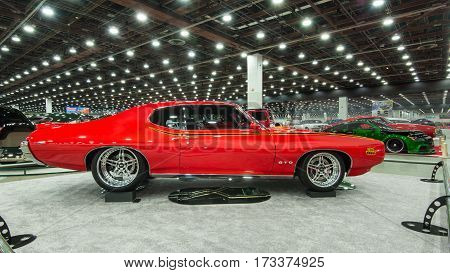 DETROIT MI/USA - February 24 2017: A 1969 Pontiac GTO Judge car interpretation on display at the Detroit Autorama, a showcase of custom and restored cars.