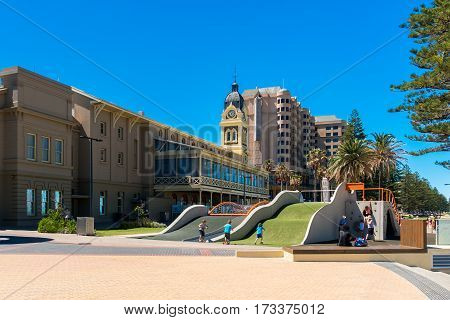 Glenelg South Australia - January 3 2017: Kids playing at new $1.3m Glenelg Foreshore Playground on a summer day.