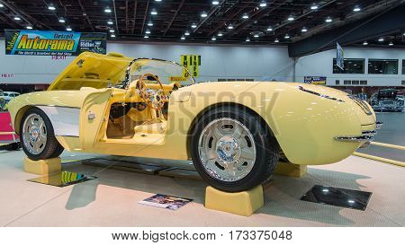DETROIT, MI/USA - February 25, 2017: A 1957 Chevrolet Corvette restoration, on display at the Detroit Autorama, a showcase of custom and restored cars.