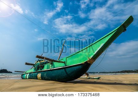Fishing Boat And Fishing Net On The Ocean Coast Of Sri Lanka Vintage Nature Background