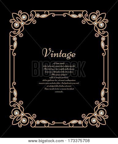 Vintage jewelry gold background, banner, rectangle frame with corner patterns, antique vector embellishment on black poster