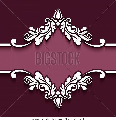 Decorative frame with cutout paper swirls, flourish decoration for invitation card or packaging design