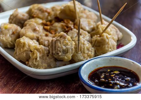 Chinese Steamed Dumplings (dim Sum) With Sauce