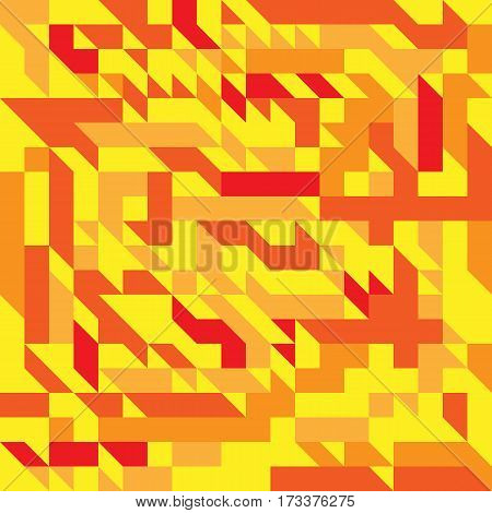 Vector illustration of a seamless pattern of simple direct geometric objects in yellow red and orange colors.