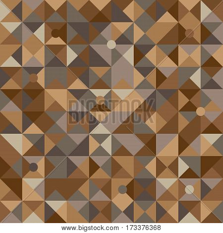 Vector illustration of a seamless pattern of simple circles and triangles in shades of brown in various shades.