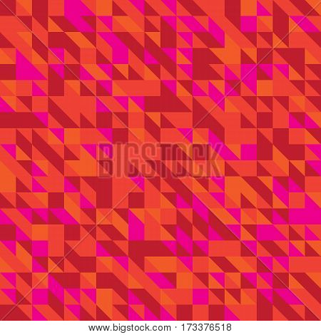 Vector illustration of a seamless pattern of simple triangles in different shades of red orange crimson of colors.