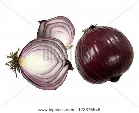 Red onion vegetable isolated. Closeup cut onion organic food concept.