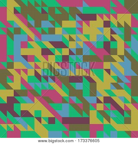 Vector illustration of a seamless pattern of simple geometric objects in direct yellow crimson brown and green colors.