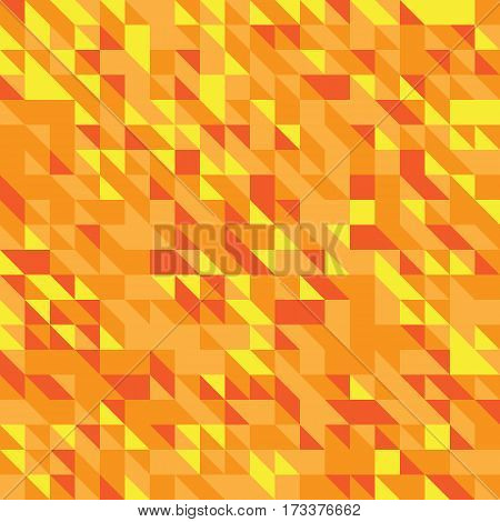 Vector illustration of a seamless pattern of simple triangles in different shades of yellow orange red colors.