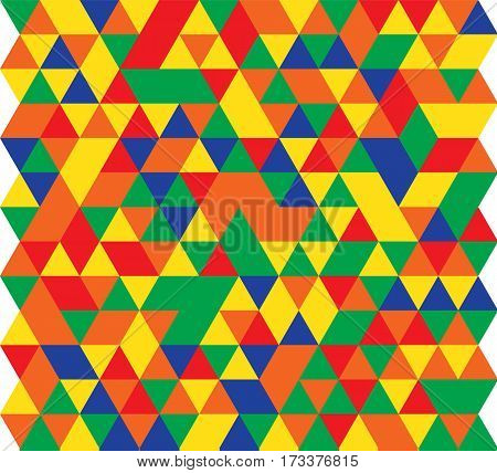 Vector illustration of a seamless pattern of simple triangles of red green blue yellow and orange.