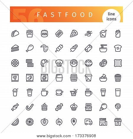 Set of 56 fastfood line icons suitable for web, infographics and apps. Isolated on white background. Clipping paths included.