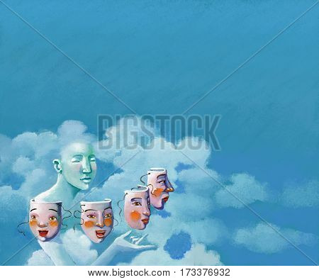 around a female figure that mingles with clouds turn 4 masks a child a teenager a woman an elderly