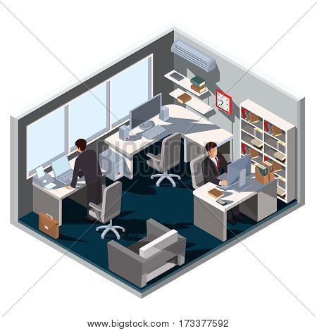 Vector 3D isometric illustration interior office room and employees working there