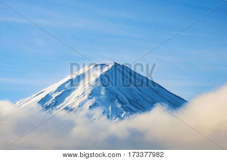 Fuji Mountain With Cloud And Mist In Winter