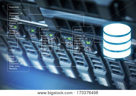 Database Table With Server Storage And Network In Datacenter Background