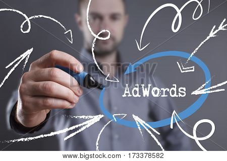 Technology, Internet, Business And Marketing. Young Business Man Writing Word: Adwords