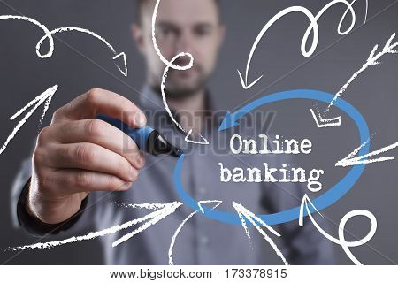 Technology, Internet, Business And Marketing. Young Business Man Writing Word: Online Banking
