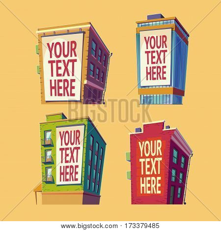 Day set of vector isolated isometric icons buildings in cartoon style with a large billboard on the wall, outdoor advertising banners on buildings with your text