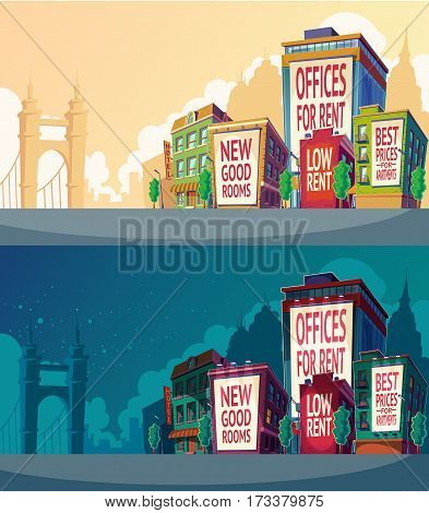 Set vector cartoon illustration of an urban landscape with buildings and a large billboard on the wall. Outdoor advertising banners on buildings with your text in daylight and the light of lanterns