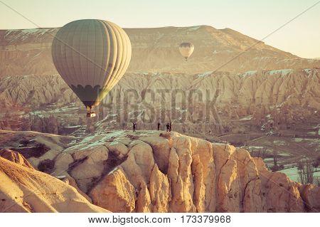 hotfire balloons festival winter morning cappadocia turkey
