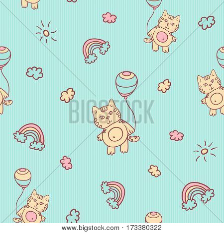 Vector seamless cartoon pattern. Little kitten with balloons, clouds, sun and rainbow. Gentle turquoise background for kids