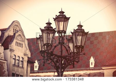 Photo Of Beautiful Lamp Post And Vintage Old Roof In Wroclaw, Poland